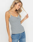 Ruched Bust Striped Tank