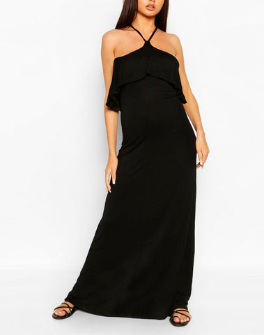 Ruffle Detail Cross Back Maxi Dress