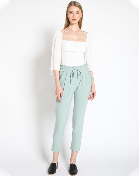 RUFFLE ME TROUSERS - SAGE