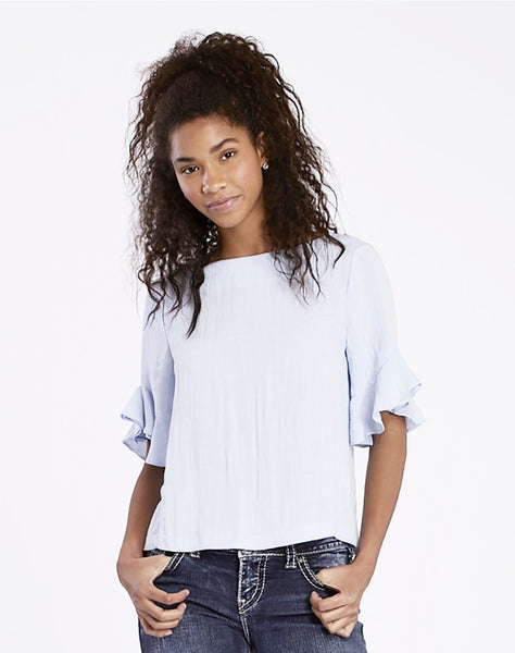 Ruffle Sleeved Woven Top