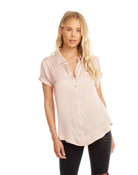 Silky Rolled S/s Button Down Shirt