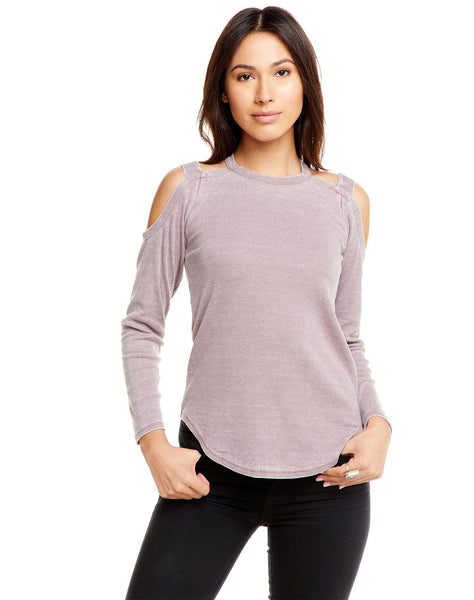 Vintage Rib L/s Strappy Open Shoulder Shirttail Tee