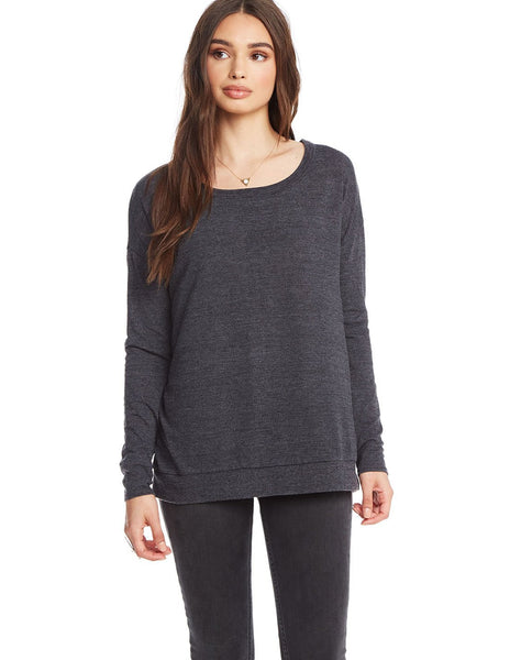 Triblend L/s Wide Neck Knot Back Dolman