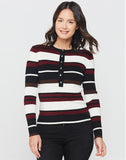 Sabelle Black Brick Stripe Henley Top
