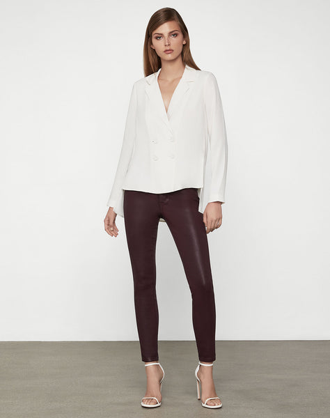 Satin Crepe Lapel Blouse