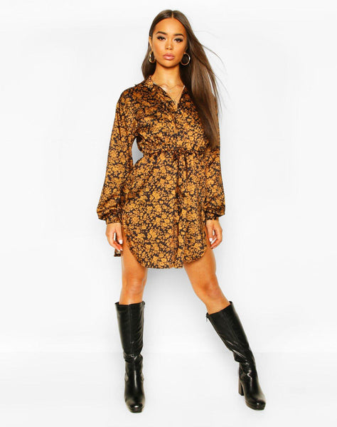 Satin Floral Draw Cord Waist Shirt Dress