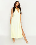 Satin Plunge Halter Neck Maxi Dress