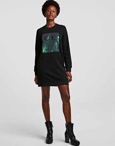 Sequin Logo Sweat Dress