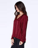 Shadow Stripe Tie Neck Blouse
