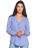 Sheer Blouse With Rolled Sleeves - Wd1156