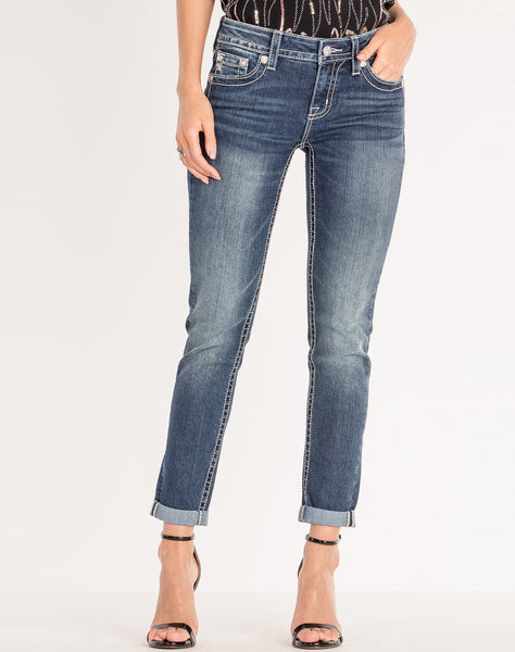 SHINING BRIGHT CUFFED ANKLE SKINNY JEANS