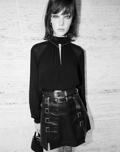 Short Rock-style Skirt In Black Leather