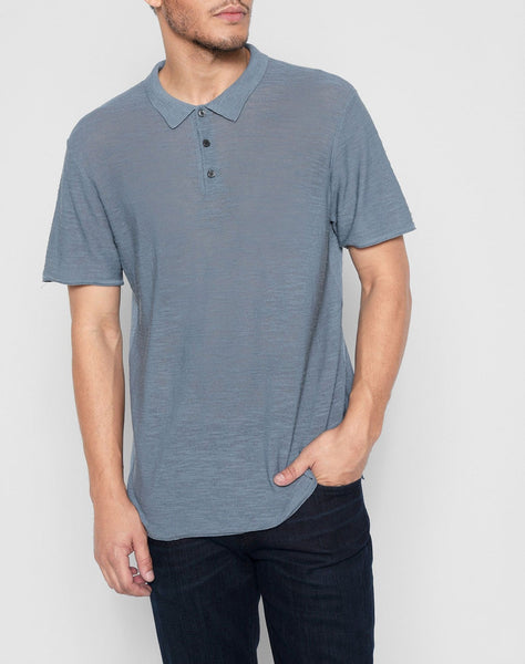 Short Sleeve Sweater Polo in Washed Jean