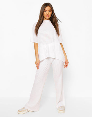 Short Sleeve Wide Leg Knitted Lounge Set