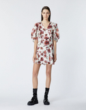 Short wrap dress with floral print