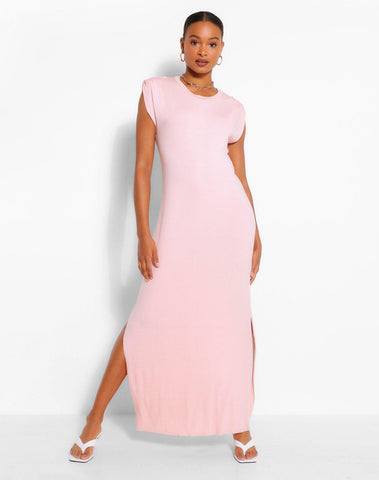 Shoulder Pad Jersey Maxi Dress