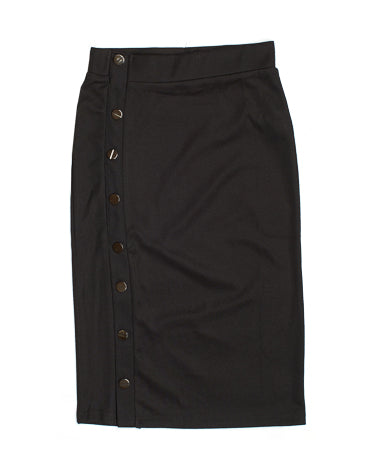 Side Button Ribbed Skirt