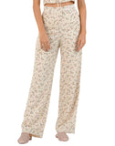 IRIS PALAZZO PANT W/ SIDE BUTTONS | TAN MINI FLORAL