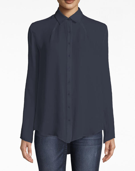 Silk Boyfriend Blouse With Jersey Back