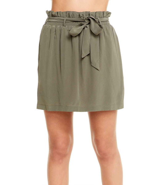 SILK PAPERBAG WAIST MINI SKIRT