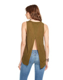 SILK RAYON OPEN CROSS OVER BACK MUSCLE TANK
