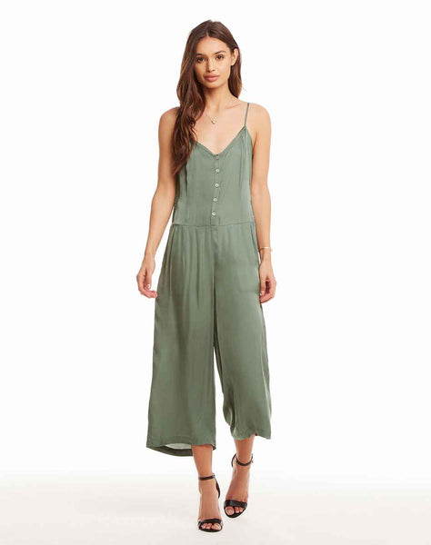 Silky Basics Button Front Cropped Cami Jumpsuit