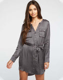 Silky Basics Button Front Henley Shirttail Hi Lo Dress