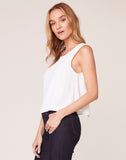 Sips Tea Chiffon Back Tank Top