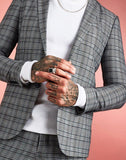 Skinny Fit Heritage Check Suit Jacket