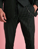 Skinny Smart Crop Pinstripe Pants With Chain