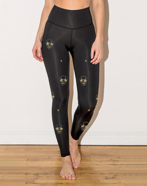 Skulls And Stars - High Waisted Leggings