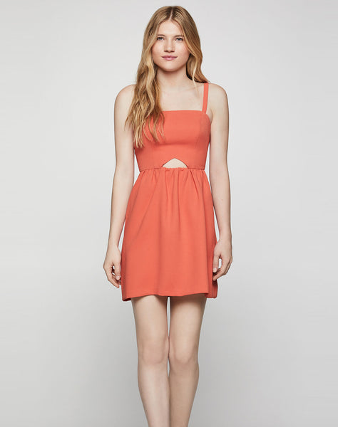 Sleeveless Cutout Flutter Dress