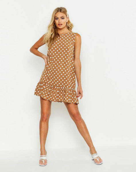 Sleeveless Polka Dot Frill Hem Smock Dress