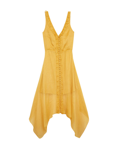 Sleeveless yellow silk dress with bows