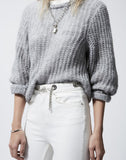 Slim-fit White Vintage Jeans With Chain Belt