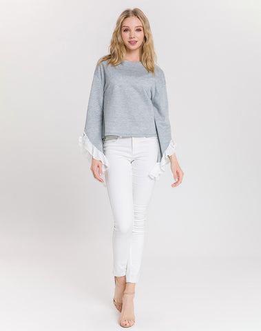 Am-knit High-low L/slv Top