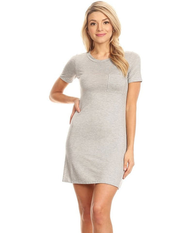 """Soft"" Knit Pocket Tee Shirt Dress"
