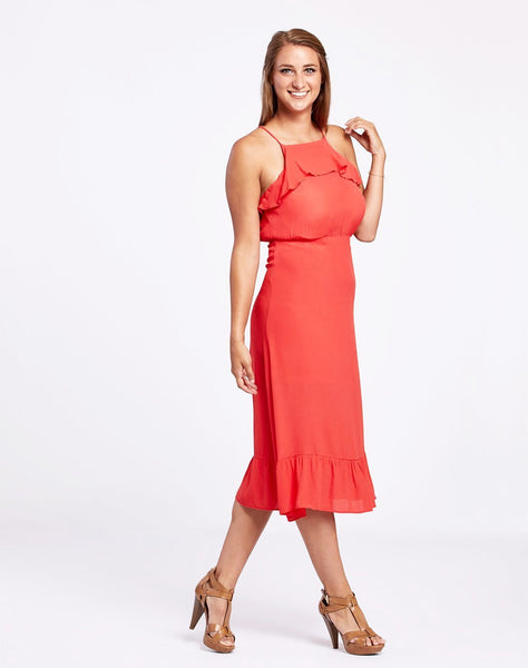 Ruffle Trim Midi Dress
