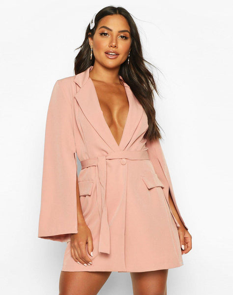 Split Sleeve Double Breasted Belted Blazer Dress
