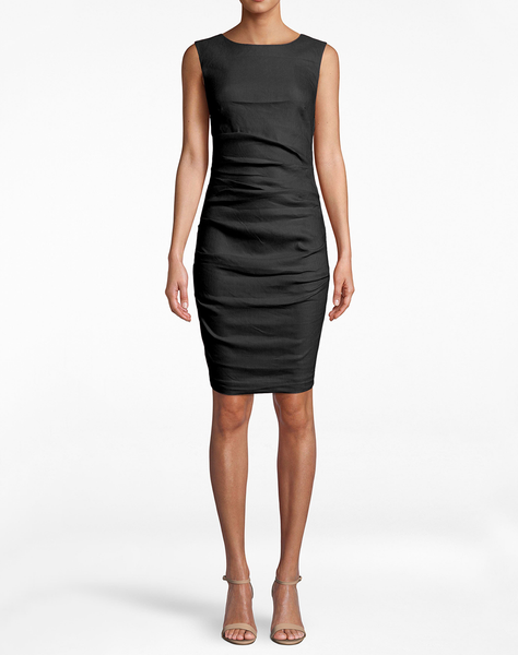 "Stretch Linen ""lauren"" Sheath Dress"