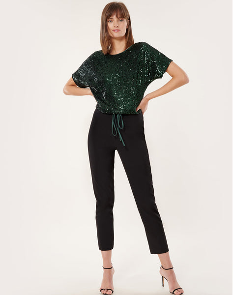 Stretch Micro Sequins Dolman V-back Top