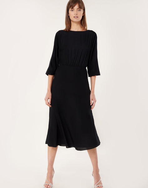 Stretch Silk Dia Cowl-Back Midi Dress