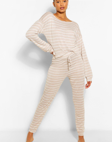 Striped Knitted Top & Legging Lounge Set
