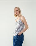 Striped Linen Button-Front Tank Top