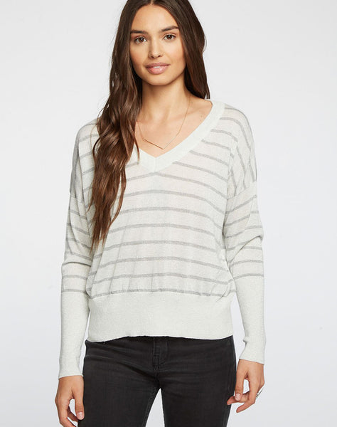 Striped Lurex Cropped Boxy V-neck Pullover Sweater