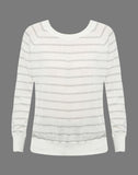Striped Lurex Open Neck Raglan Pullover Sweater