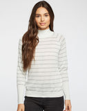 Striped Lurex Turtleneck Raglan Shirttail Sweater