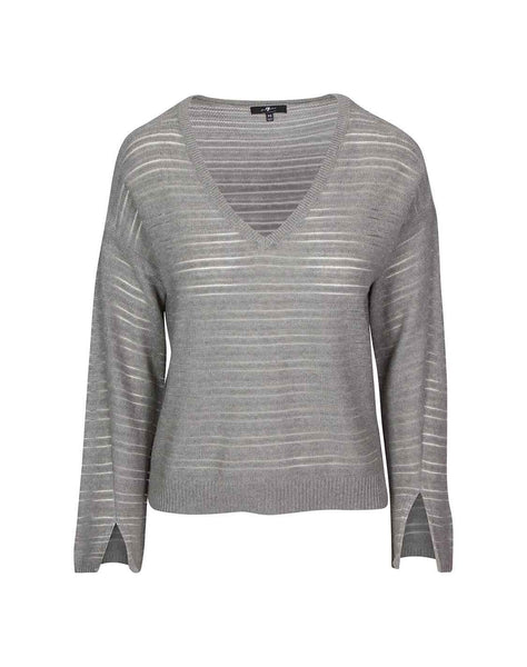 Striped Pullover in Light Heather Grey
