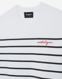 Striped white cotton loose embroidered T-shirt