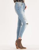 Studded And Distressed Mid Rise Ankle Skinny Jeans